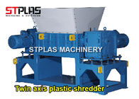 Twin Axis Plastic Shredder Machine For Hollow Containers Drum PLC Control